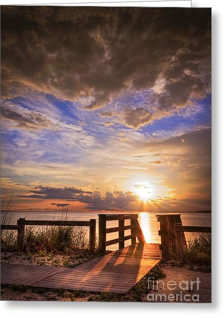 Boardwalks Greeting Cards - Essence of Light Greeting Card by Marvin Spates
