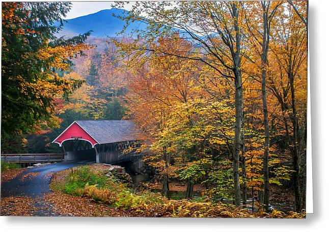 Covered Bridge Greeting Cards - Essence of New England - New Hampshire autumn classic Greeting Card by Thomas Schoeller