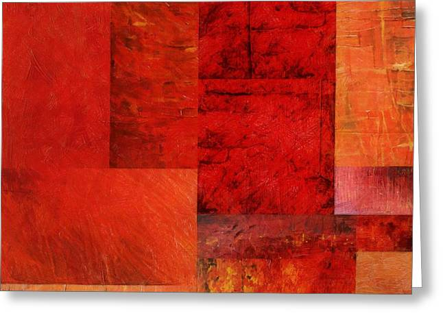 Geometric Design Greeting Cards - Essence of Red 2.0 Greeting Card by Michelle Calkins