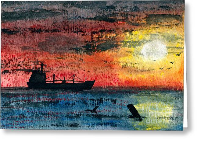 Antenna Paintings Greeting Cards - Essential Cargo Greeting Card by R Kyllo