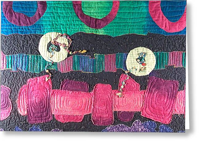 Abstract Quilt Tapestries - Textiles Greeting Cards - Essential Circles Greeting Card by MtnWoman Silver