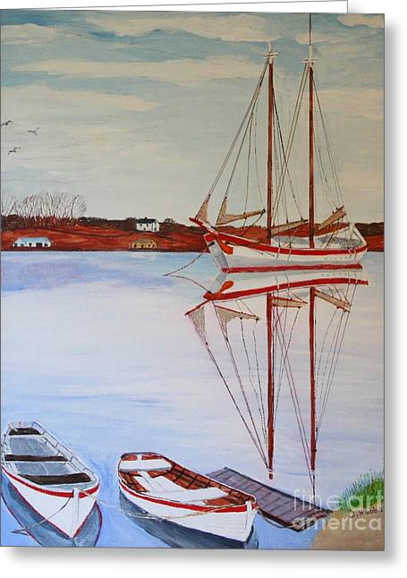 Historic Schooner Drawings Greeting Cards - Essex Harbor Reflections Greeting Card by Bill Hubbard