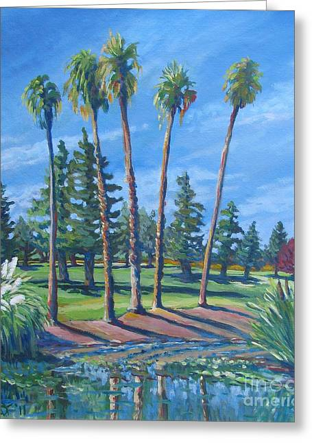 Stockton Paintings Greeting Cards - Estate Palms Greeting Card by Vanessa Hadady BFA MA