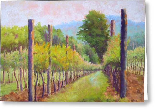 Wine Vineyard Pastels Greeting Cards - Estate Pinot Greeting Card by Nancy Jolley
