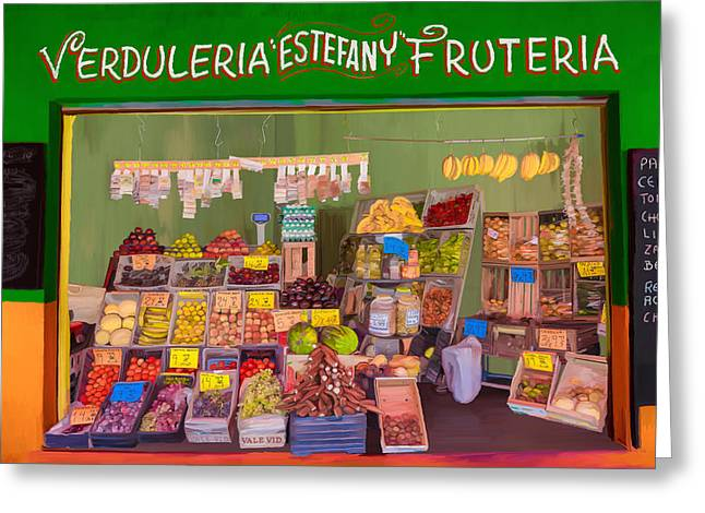 Store Fronts Greeting Cards - Estefany Market Greeting Card by Wally Hampton