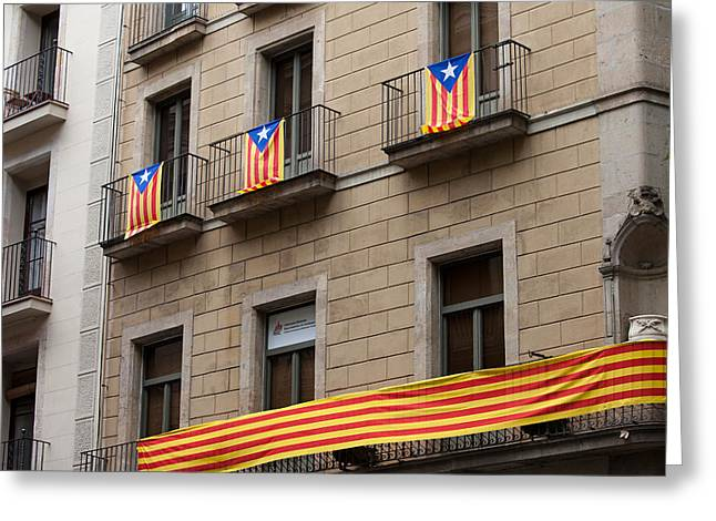 Catalunya Greeting Cards - Estelada Flag of Catalonia in Barcelona Greeting Card by Artur Bogacki