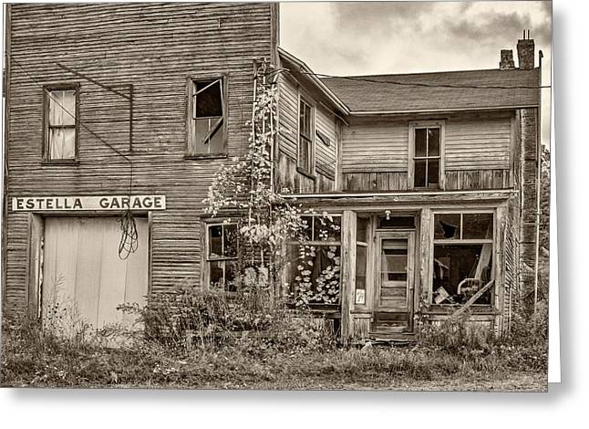 Overgrown Greeting Cards - Estella Garage sepia Greeting Card by Steve Harrington