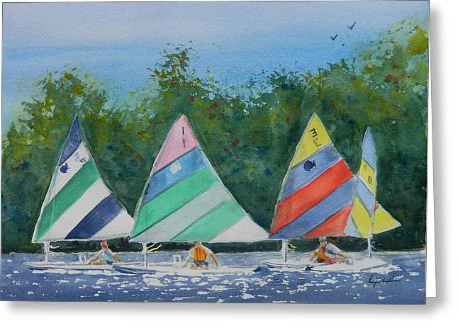 Ocean Sailing Pastels Greeting Cards - Estero Bay Sailing FL Greeting Card by Laurie Paci
