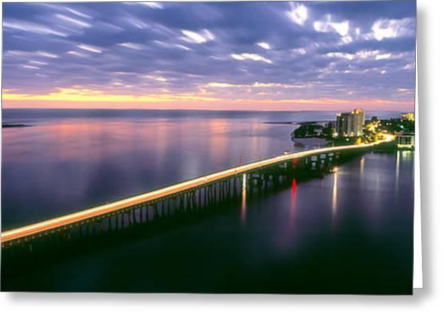 Estero Boulevard At Night, Fort Myers Greeting Card by Panoramic Images