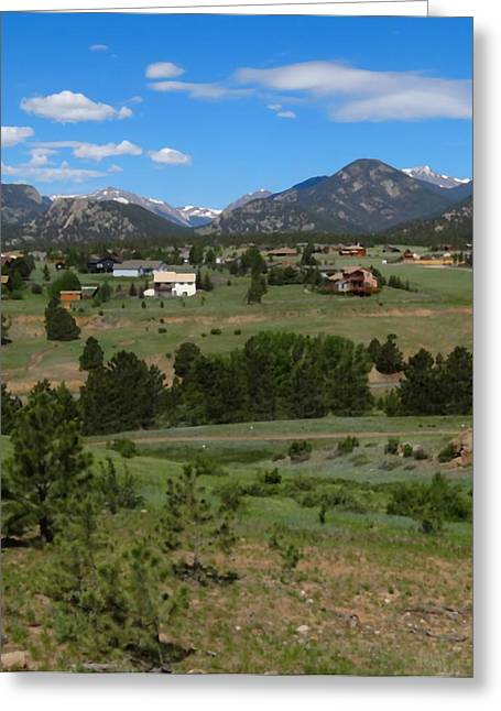 Town Mixed Media Greeting Cards - Estes Park Colorado Greeting Card by Dan Sproul