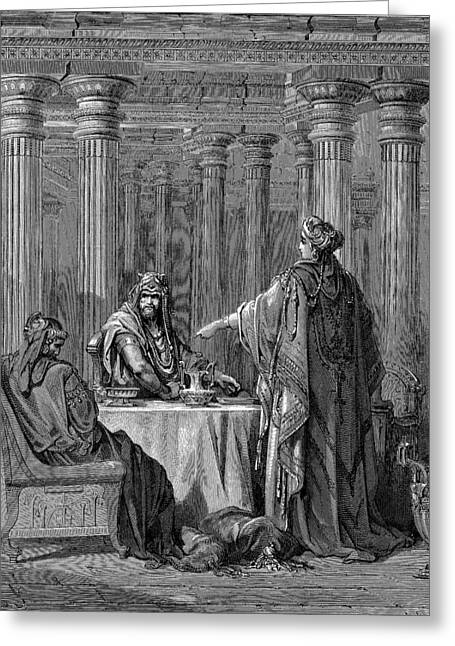 Dore Greeting Cards - Esther Accusing Haman Greeting Card by Gustave Dore