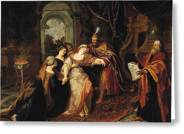 Faint Greeting Cards - Esther Before Ahasuerus, Before 1697 Oil On Canvas Greeting Card by Antoine Coypel