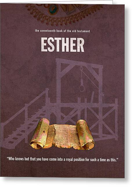 Posters Of Women Mixed Media Greeting Cards - Esther Books Of The Bible Series Old Testament Minimal Poster Art Number 17 Greeting Card by Design Turnpike