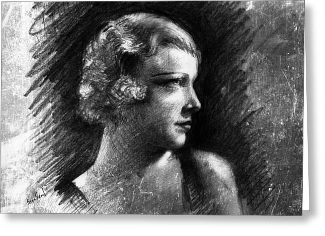Silent Film Greeting Cards - Esther Ralston Greeting Card by Sean Seal