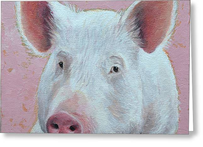 White Farm Greeting Cards - Esther The Wonder Pig Greeting Card by Mary Medrano