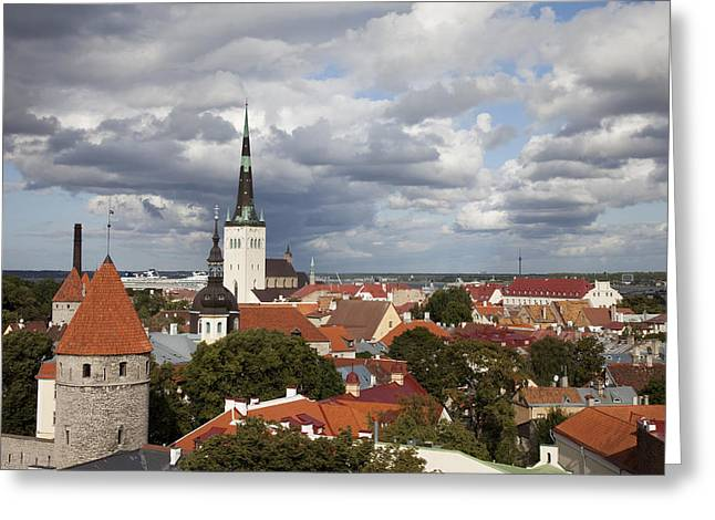 Estonia, Tallin, Overview Of The Old Greeting Card by Tips Images