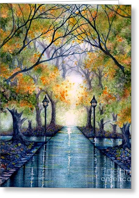 Mist Paintings Greeting Cards - ESU The future looks bright Greeting Card by Janine Riley