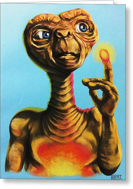Glowing Pastels Greeting Cards - E.T. the Extra Terrestrial  Greeting Card by Brent Andrew Doty