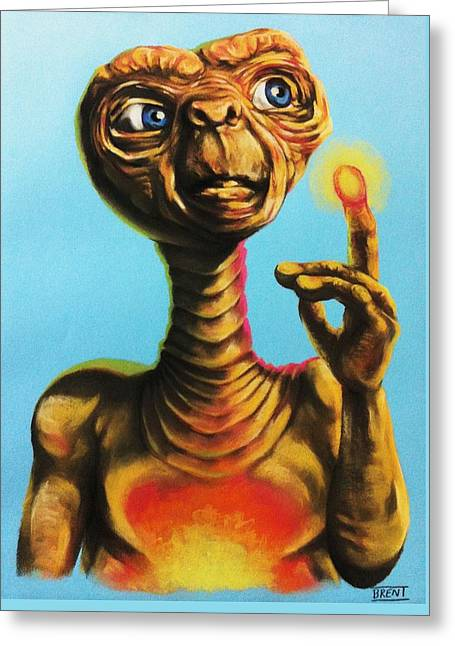 Science Pastels Greeting Cards - E.T. the Extra Terrestrial  Greeting Card by Brent Andrew Doty