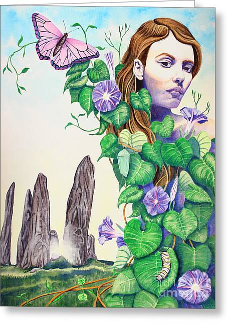 Morning Glories Greeting Cards - Etain Greeting Card by Antony Galbraith