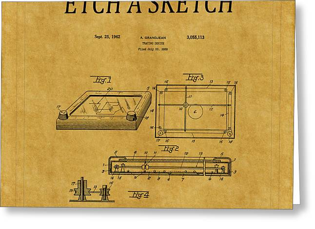 Etch A Sketch Greeting Cards - Etch A Sketch Patent 1 Greeting Card by Andrew Fare