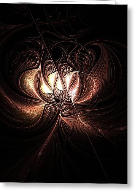Floral Digital Art Digital Art Greeting Cards - Etched Bloom Greeting Card by Amanda Moore