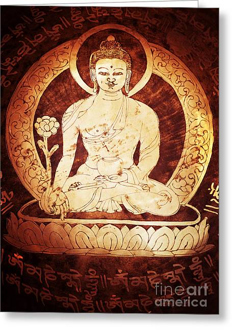 Tibetan Buddhism Greeting Cards - Etched Buddha  Greeting Card by Tim Gainey