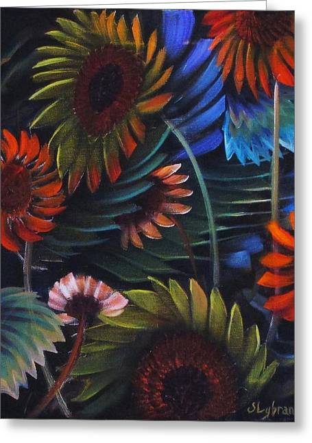 Bule Greeting Cards - Etched Flowers Greeting Card by Judy Lybrand