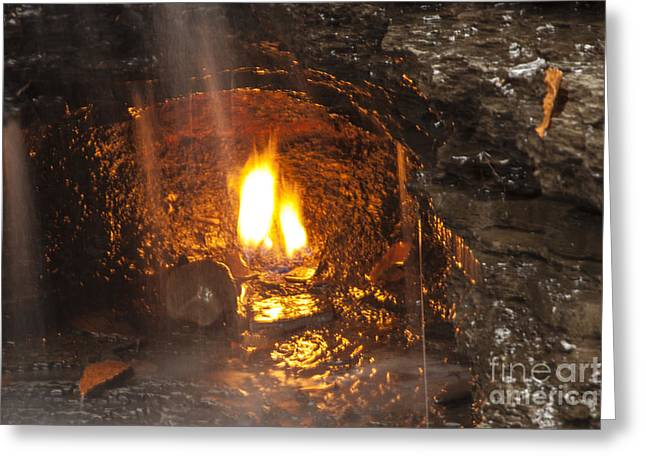Environemtn Greeting Cards - Eternal Flame Cave Greeting Card by Darleen Stry