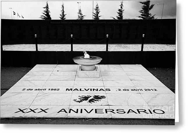 Eternal Flame Greeting Cards - Eternal Flame Islas Malvinas War Memorial Ushuaia Argentina Greeting Card by Joe Fox