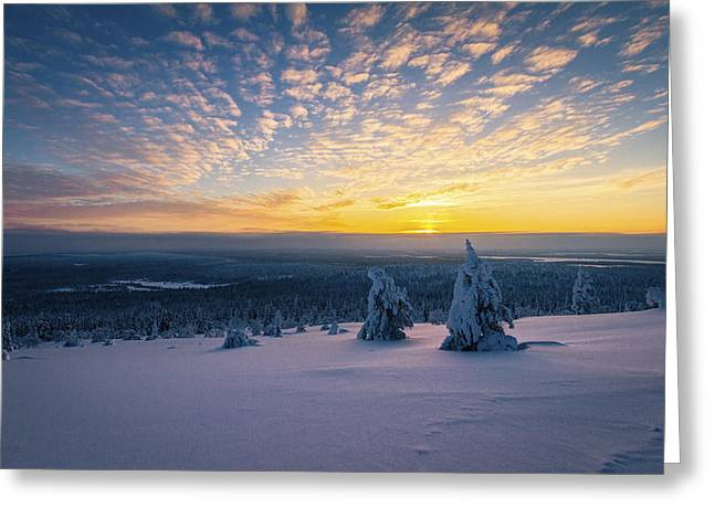 Snowy Evening Greeting Cards - Eternal Peace Greeting Card by Antti Viitakangas