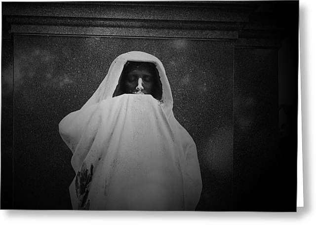 Ominous Greeting Cards - Eternal Silence- Graceland Cemetery Chicago Greeting Card by Christine Till