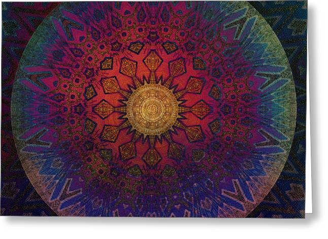 Best Sellers -  - Geometric Digital Art Greeting Cards - Eternal Sun Glyph Mandala Greeting Card by Miabella Mojica