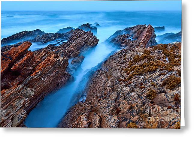 Montana De Oro Greeting Cards - Eternal Tides - The strange jagged rocks and cliffs of Montana de Oro State Park in California Greeting Card by Jamie Pham