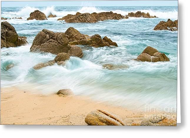 Eternal Waves At Asilomar Beach In Monterey Bay. Greeting Card by Jamie Pham
