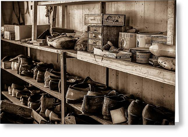 Shoe Repair Greeting Cards - Eternally Waiting BW Greeting Card by David Morefield