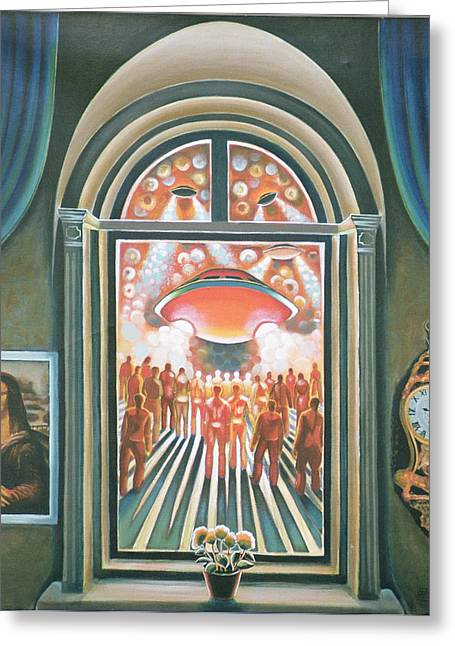 Flying Saucers Greeting Cards - Eternity, 1968 Oil On Canvas Greeting Card by Radi Nedelchev