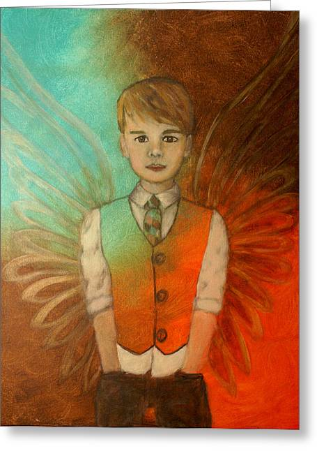 Recently Sold -  - Charlotte Greeting Cards - Ethan Little Angel of Strength and Confidence Greeting Card by The Art With A Heart By Charlotte Phillips