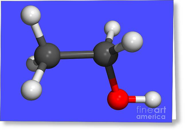 Addictive Drug Greeting Cards - Ethanol, Computer Molecular Model Greeting Card by Dr. Tim Evans