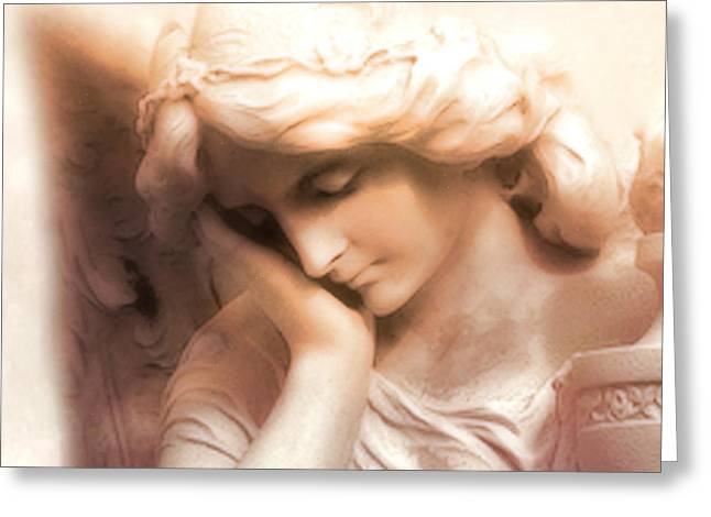 Statue Portrait Photographs Greeting Cards - Ethereal Angel Art - Dreamy Surreal Peaceful Comforting Angel Art Greeting Card by Kathy Fornal