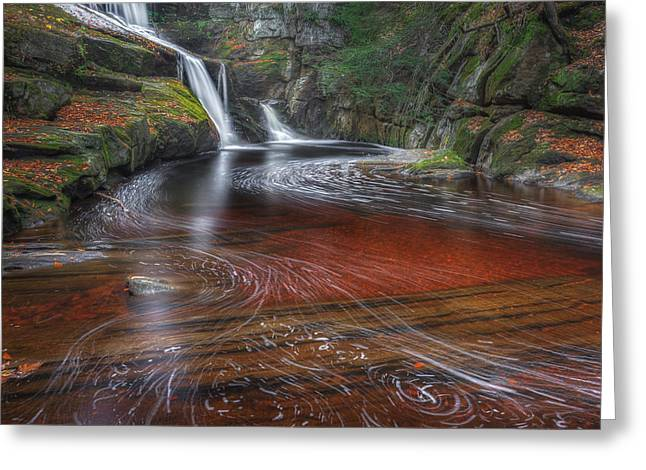 Ethereal Waterfalls Greeting Cards - Ethereal Autumn Square Greeting Card by Bill  Wakeley