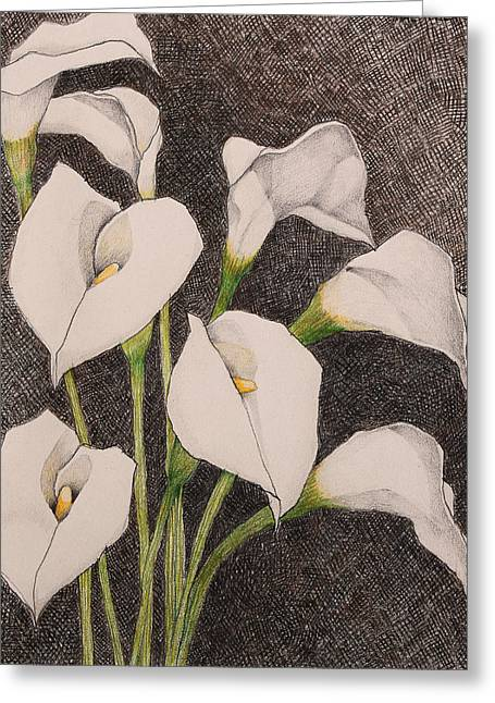 Calla Lily Drawings Greeting Cards - Ethereal Beauties Greeting Card by Mae Javelona