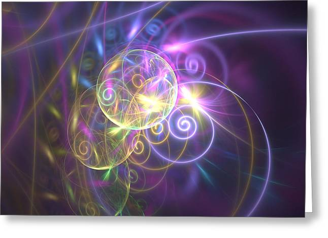 Fractal Orbs Greeting Cards - Ethereal Greeting Card by La Albisoima
