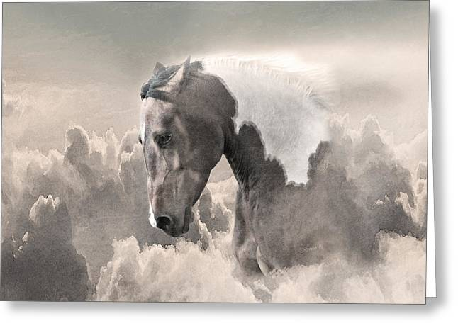 Crazy Horse Greeting Cards - Ethereal Paint Horse Power Sepia Greeting Card by Renee Forth-Fukumoto