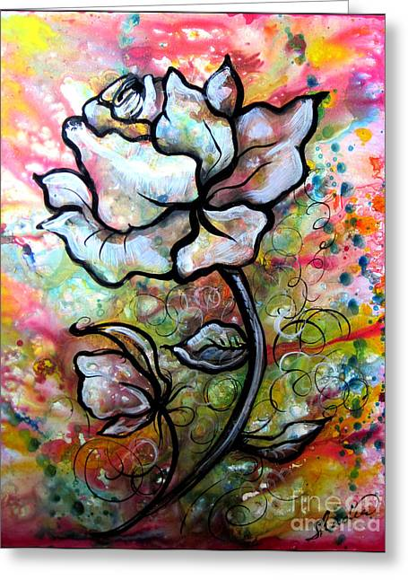 Floral Prints Greeting Cards - Ethereal Rose Greeting Card by Shadia Zayed