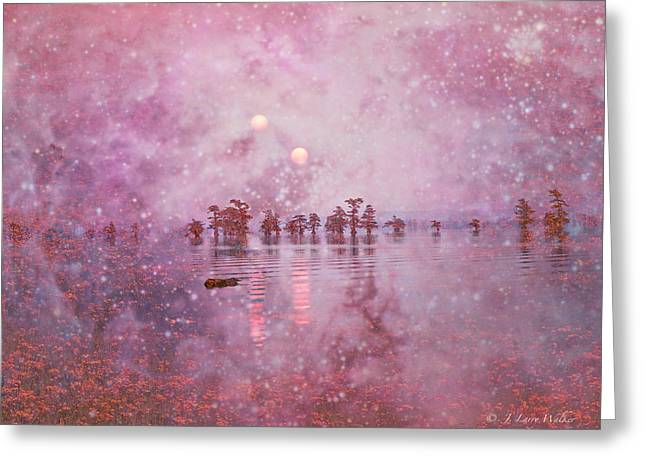 Waterscape Digital Art Greeting Cards - Ethereal Sunrise From Another World Greeting Card by J Larry Walker