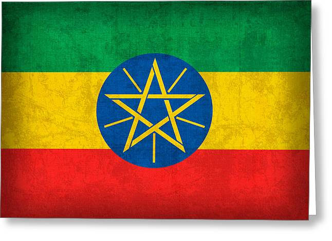 Ethiopia Flag Vintage Distressed Finish Greeting Card by Design Turnpike