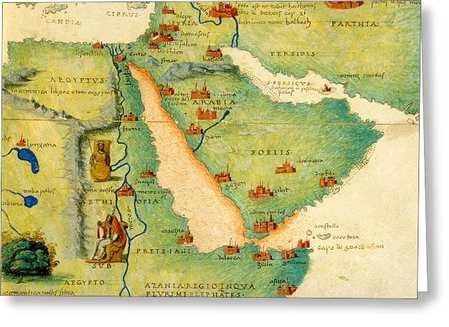 Africa Map Greeting Cards - Ethiopia, The Red Sea And Saudi Arabia, From An Atlas Of The World In 33 Maps, Venice, 1st Greeting Card by Battista Agnese