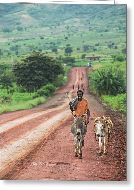 Ethiopian Farmer Walking Donkeys Greeting Card by Peter J. Raymond