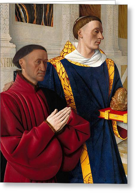 Chevalier Greeting Cards - Etienne Chevalier with St Stephen Greeting Card by Jean Fouquet